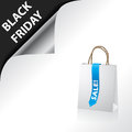 Black friday advertisement with shopping bag white and blue ribbon Royalty Free Stock Photos