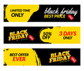 Black friday banners. Vector Sale web market design template. Black friday offer discount concept