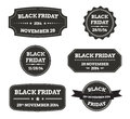Black friday black labels set of vector illustration isolated Stock Images