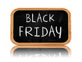 Black friday on blackboard banner d isolated with chalk text business holiday concept Stock Photography