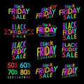 Black Friday Designs NEON | Retro Style Elements | Vintage Ornaments | Sale, Clearance | Vector Set | Black Friday retro light fra