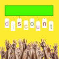 Black friday. Discount word on labels people hands Royalty Free Stock Photo