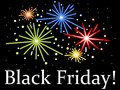Black friday fireworks on background white text on Royalty Free Stock Photo
