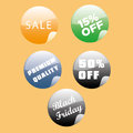 Black friday five colored icons with text for Stock Photo