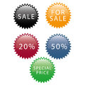 Black friday five colored icons with white text for Stock Photos