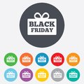 Black friday gift sign icon sale symbol special offer label round colourful buttons Royalty Free Stock Image