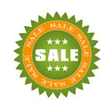 Black friday a green and yellow icon with white text for Stock Photography