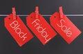 Black friday het winkelen verkoopconcept met bericht over de rode markeringen die van de kaartjesverkoop wordt geschreven Stock Foto's