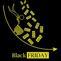 Black friday hot sales concept vector icon logo with falling discounts and black background