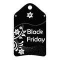 Black friday a icon with white text and silhouettes for Stock Images