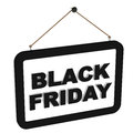 Black friday label handing on white background sale offers and specific discounts Royalty Free Stock Photos