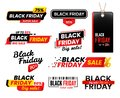 Black friday labels. Sale sticker for thanksgiving fridays sales, shopping tag stickers label designs vector set