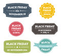 Black friday labels set of colorful grunge vector stickers Royalty Free Stock Photography