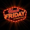 Black Friday retro light frame. Vector Royalty Free Stock Photo