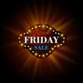 Black Friday retro light frame. Vector illustration Royalty Free Stock Photo