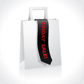 Black friday ribbon on white paperbag Stock Images