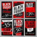 Black Friday sale advertising posters vector template with best price and offer Royalty Free Stock Photo