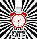 Black friday sale design with alarm clock illustration of Royalty Free Stock Photos
