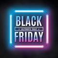 Black friday sale design template. Black friday light frame. Glowing neon background. Vector illustration Royalty Free Stock Photo