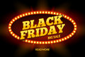 Black Friday SALE frame design template. Black friday discount retro banner with neon sign light frame. Vector