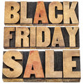 Black friday sale holiday shopping concept isolated text in letterpress wood type Stock Photos