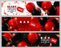 Black Friday Sale Horizontal Banners Set. Flying Glossy Balloons on White,Black and Red Background. Falling Confetti and