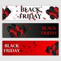 Black Friday Sale Horizontal Banners Set. Flying Glossy Balloons on White and Red Background. Falling Confetti and