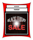 Black friday sale illustration in red and white with days of the week to Royalty Free Stock Photography