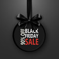 Black Friday sale inscription design template. banner with bow ribbon. Discount special off . Shopping promotion poster