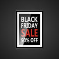 Black Friday sale inscription design template. Black Friday banner with bow ribbon. Discount 90 special off design