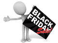 Black friday sale little d man holding a placard with text white background Stock Photo