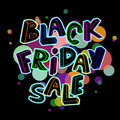 Black friday sale poster colorful with hand lettering Stock Photo