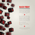 Black friday sale poster vector illustration design template for holiday event d cubes with percents original festive Stock Images