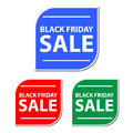 Black friday sale stickers or signs three with the words in different colors Stock Photos