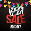 Black Friday sale vector banner design with colorful hanging streamers