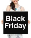 Black friday sale a woman holding a signboard Royalty Free Stock Photography