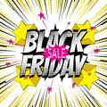 Black Friday sales banner. Colorful speed lines from center of frame with effect explosion and stars Royalty Free Stock Photo