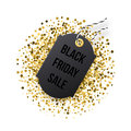 Black Friday sales tag. Black tag with golden glitter isolated on white background. Royalty Free Stock Photo