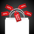 Black friday shopping bag presentation Royalty Free Stock Photos