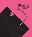 Black Friday Shopping bag sale on pink background. Royalty Free Stock Photo