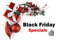 Black Friday Specials sale message greeting with Christmas decorations Royalty Free Stock Photo