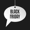 Black friday speech bubble hanging by rope on striped background Stock Photo