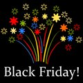 Black friday stylized fireworks on background white text on Stock Photography