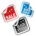 Black friday three colored icons with white text and stars for Royalty Free Stock Photo