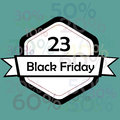 Black friday a white icon with a white ribbon for in a blue background Royalty Free Stock Photo