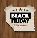 Black friday on wooden background sticker a Royalty Free Stock Image