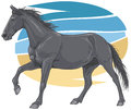 Black galloping horse illustration of a Royalty Free Stock Images