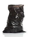 Black garbage bag over white bacground Royalty Free Stock Image