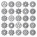 Black gear icons isolated vector illustration.