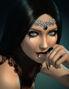 Black gem d cg computer graphics of a portrait of lady with gems jewelry and gothic makeup Stock Photos
